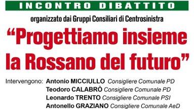 Rossano, lunedì 11 maggio incontro-dibattito organizzato dai gruppi consiliari di centrosinistra
