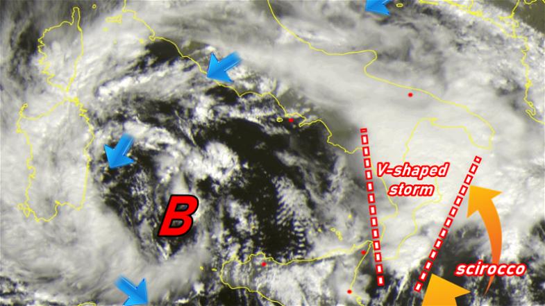 Maltempo in Calabria, caduti quasi 450mm di pioggia.La Calabria nella morsa del temporale V-Shaped