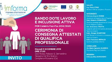 Il 5 dicembre l'Associazione Imforma consegnerà gli attestati di qualifica alla presenza del Presidente Oliveiro