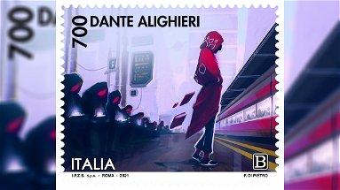Tre francobolli commemorativi di Dante Alighieri per i 700 anni dalla sua morte